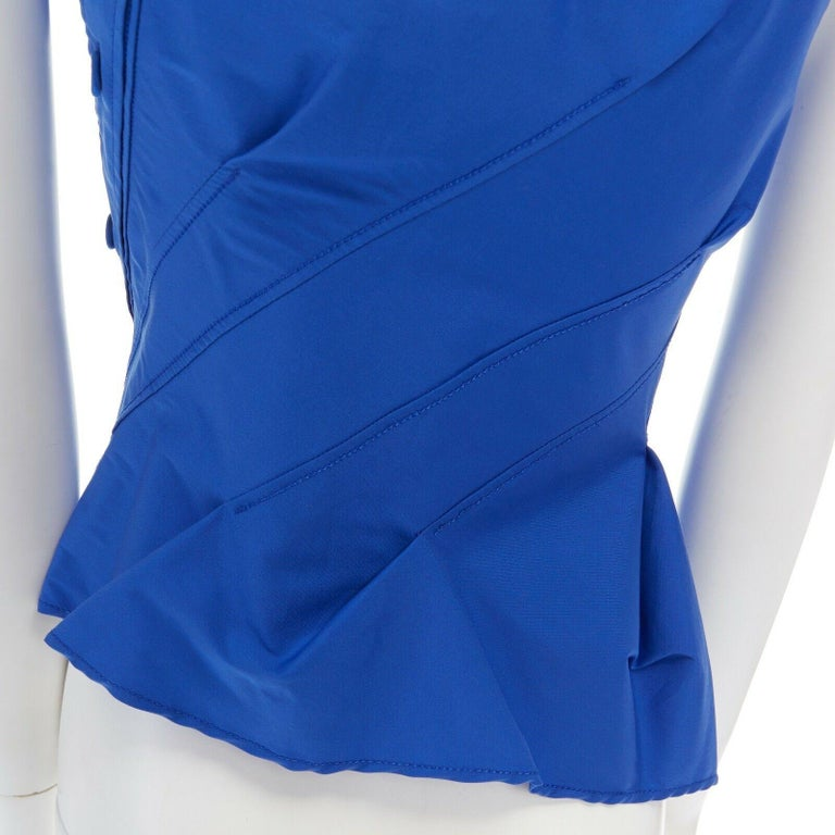 new MONSE electric blue cototn blend deconstructed twisted button blouse top XS For Sale 5