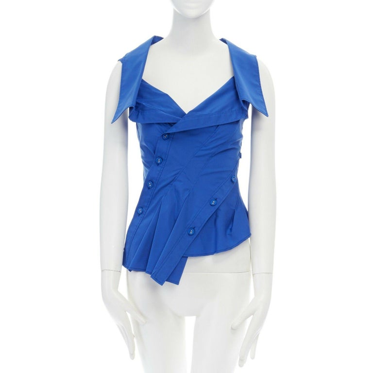 Blue new MONSE electric blue cototn blend deconstructed twisted button blouse top XS For Sale
