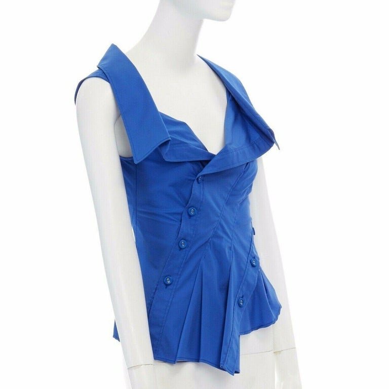 new MONSE electric blue cototn blend deconstructed twisted button blouse top XS In Good Condition For Sale In Hong Kong, NT