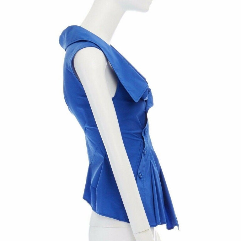 Women's new MONSE electric blue cototn blend deconstructed twisted button blouse top XS For Sale
