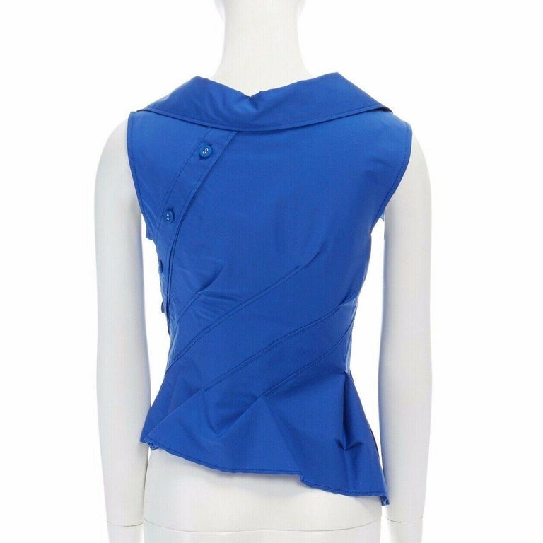 new MONSE electric blue cototn blend deconstructed twisted button blouse top XS For Sale 1