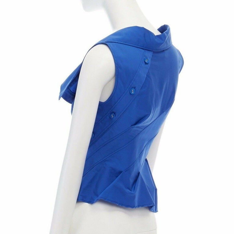 new MONSE electric blue cototn blend deconstructed twisted button blouse top XS For Sale 2