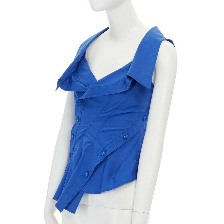 new MONSE electric blue cototn blend deconstructed twisted button blouse top XS For Sale 3