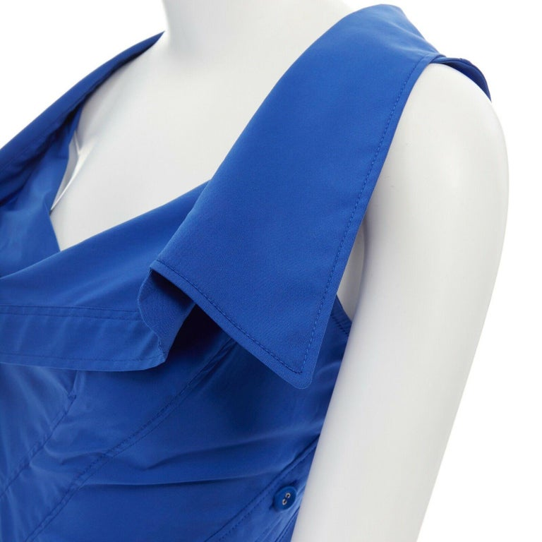 new MONSE electric blue cototn blend deconstructed twisted button blouse top XS For Sale 4
