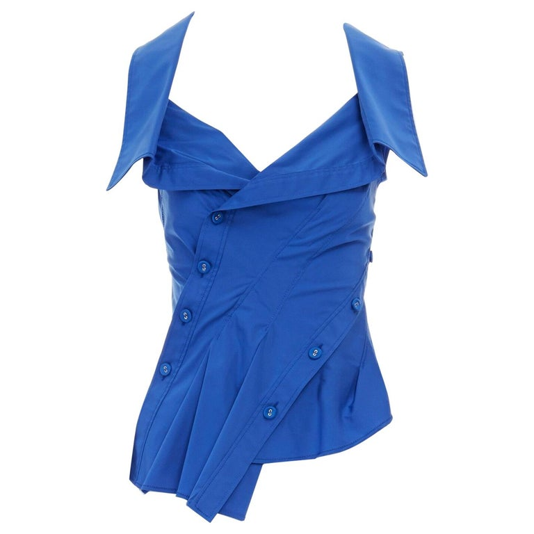 new MONSE electric blue cototn blend deconstructed twisted button blouse top XS For Sale