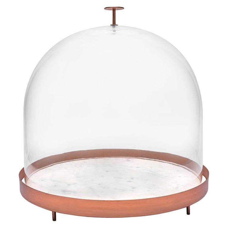 New Moon Large Glass Bell with Copper and Marble Tray by Elisa Ossino For Sale