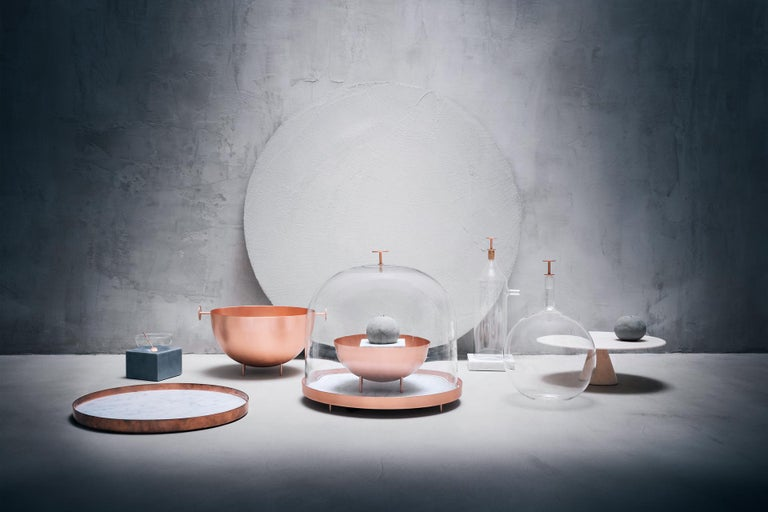 Modern New Moon Small Glass Bell with Copper and Carrara Marble Tray by Elisa Ossino For Sale