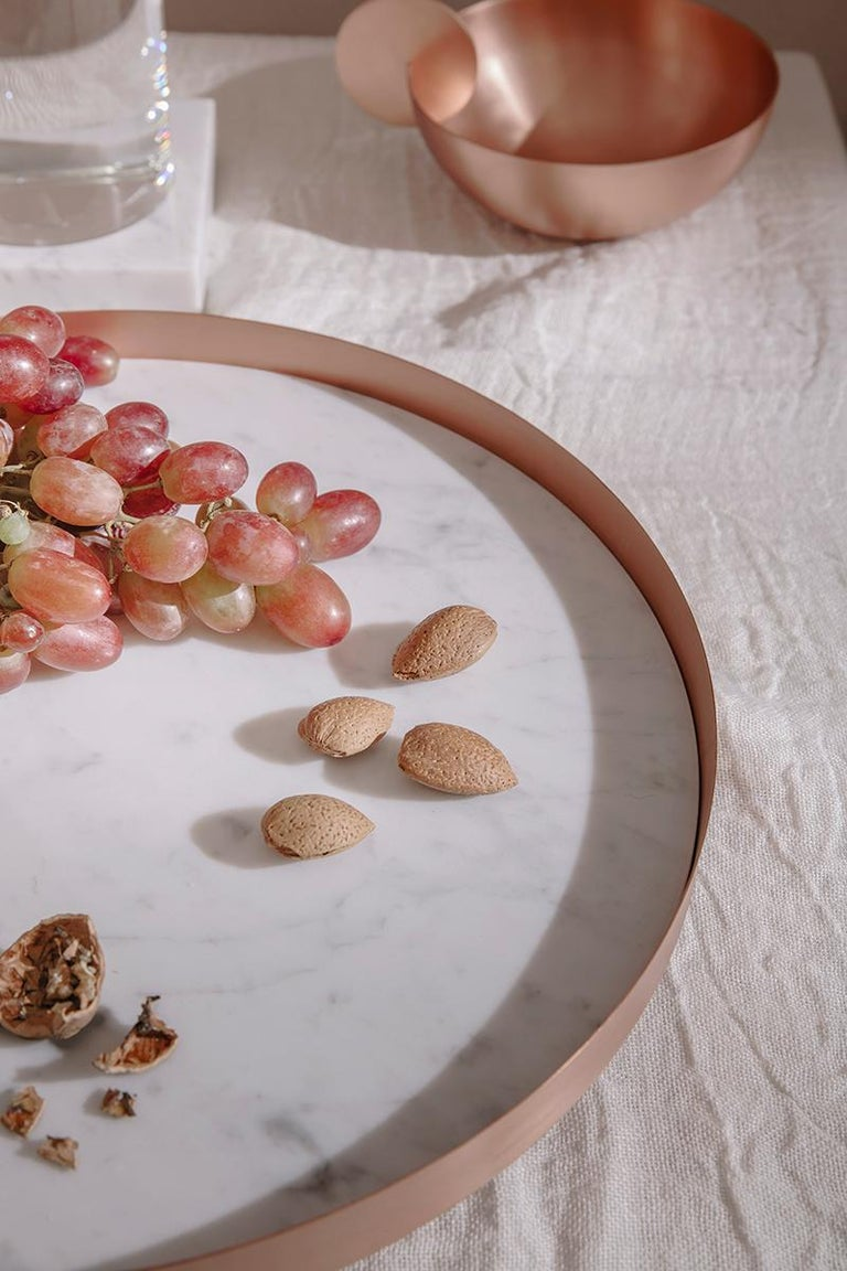 Italian New Moon Small Glass Bell with Copper and Carrara Marble Tray by Elisa Ossino For Sale