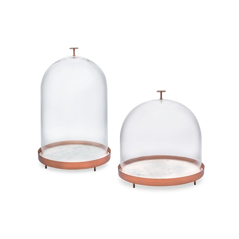 New Moon Small Glass Bell with Copper and Carrara Marble Tray by Elisa Ossino In New Condition For Sale In Milan, IT