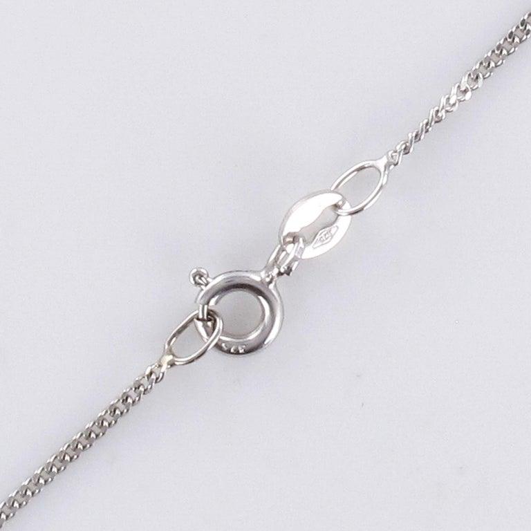 Moonstone Sapphires Diamonds 18 Karat White Gold Necklace For Sale 5