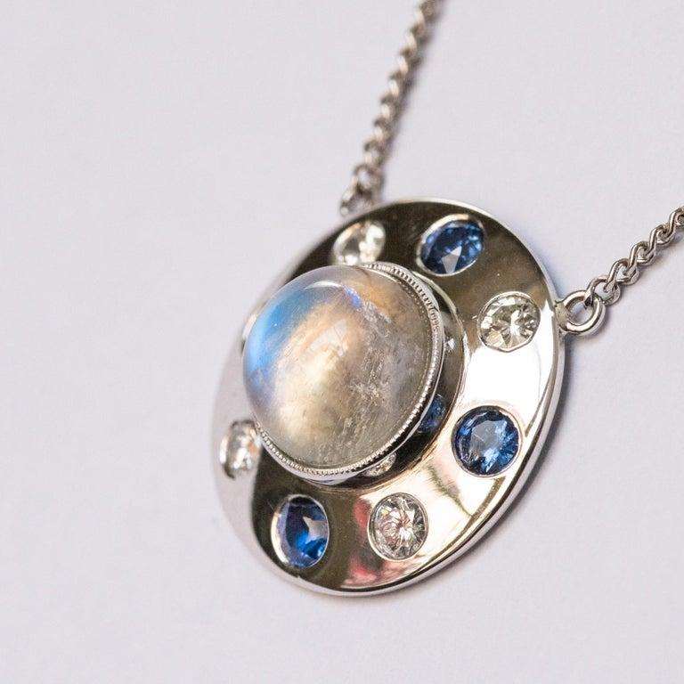 Modern Moonstone Sapphires Diamonds 18 Karat White Gold Necklace For Sale
