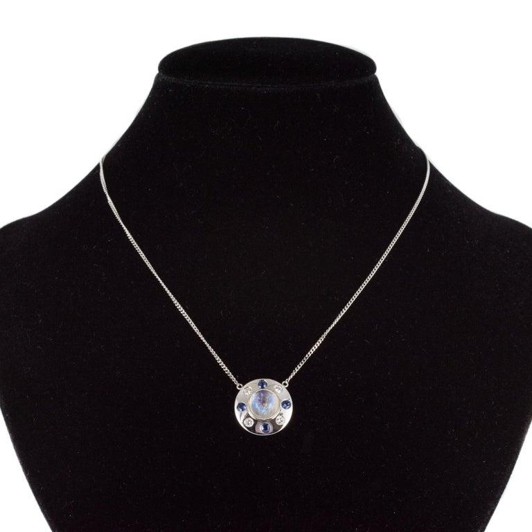 Moonstone Sapphires Diamonds 18 Karat White Gold Necklace For Sale 1