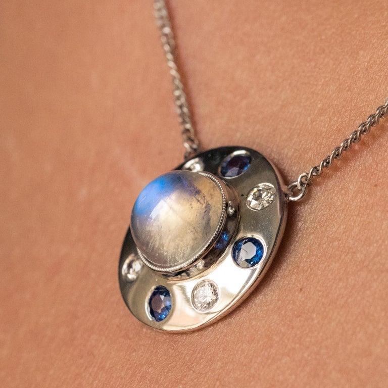Moonstone Sapphires Diamonds 18 Karat White Gold Necklace For Sale 2