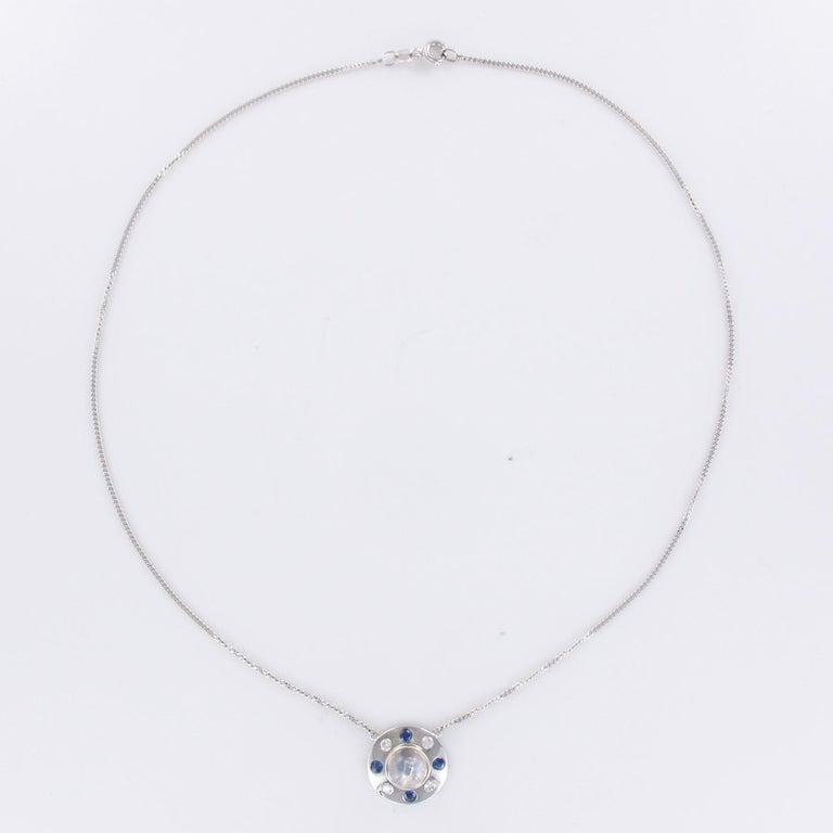Moonstone Sapphires Diamonds 18 Karat White Gold Necklace For Sale 3