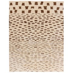 New Moroccan Chocolate Brown and Beige Handwoven Wool Rug