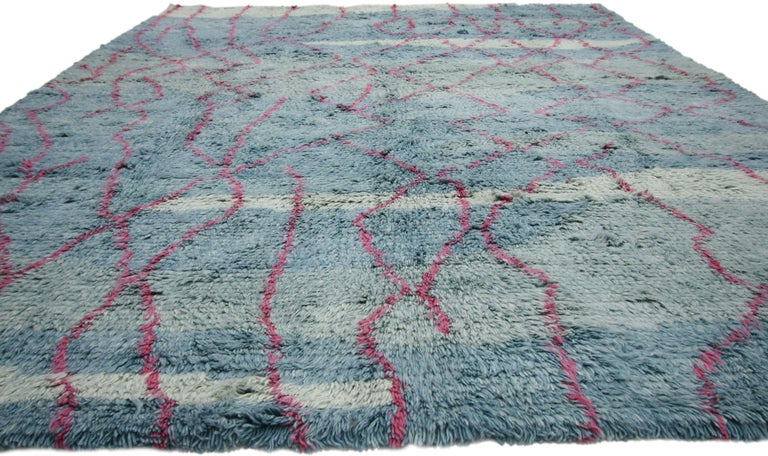 Indian New Moroccan Style Rug with Modern Contemporary Abstract Design For Sale
