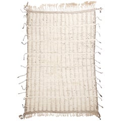 New Moroccan White and Black Wool Rug with Mixed Pile Height