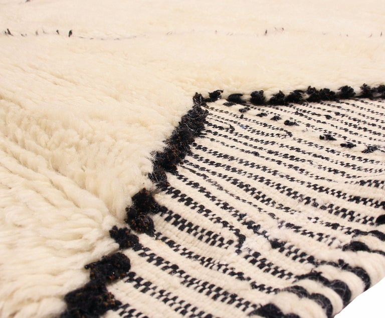 Hand-Knotted New Moroccan White and Black Wool Rug with Pile  For Sale