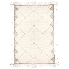 New Moroccan White and Black Wool Rug with Pile