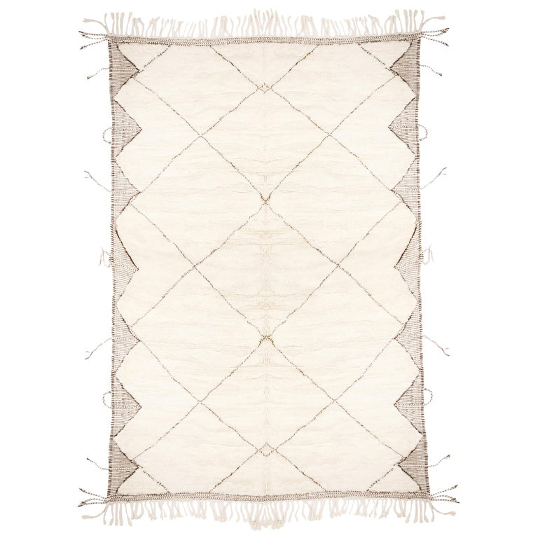 New Moroccan White and Black Wool Rug with Pile  For Sale