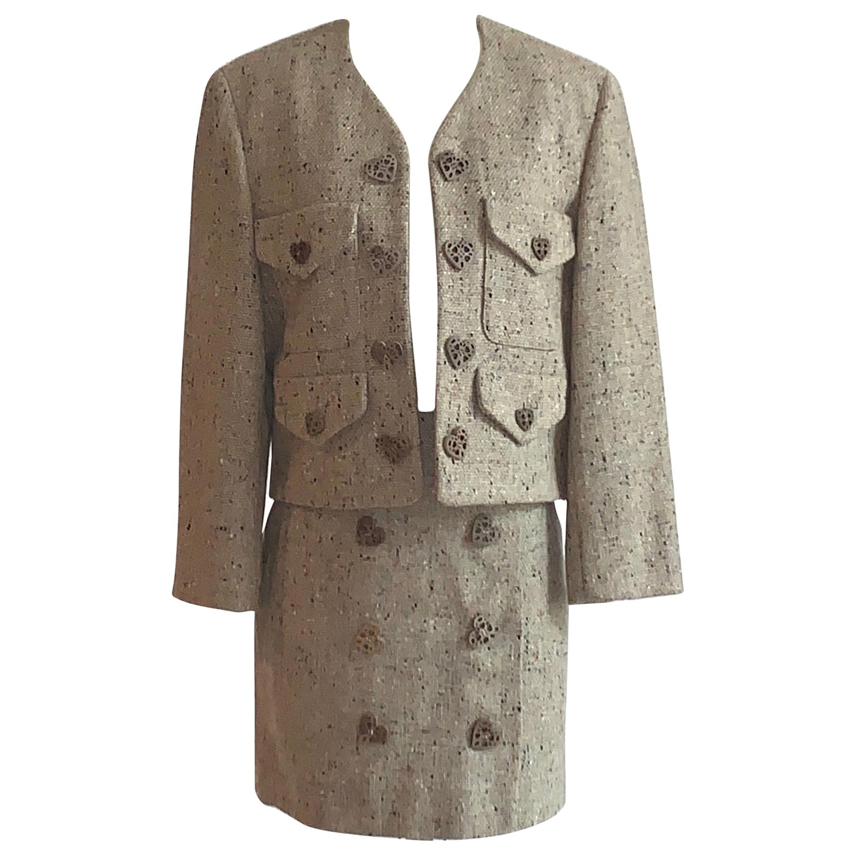 New Moschino Cheap & Chic 1990s Oatmeal Tweed Skirt Suit with Heart Buttons
