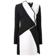 New Mugler Bonded Monocrome Crepe Long Sleeve Mini Dress FR36 // US2-4