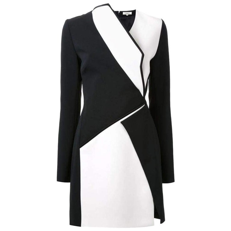 New Mugler Bonded Monocrome Crepe Long Sleeve Mini Dress FR36 // US2-4 For Sale