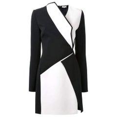 New Mugler Bonded Monocrome Crepe Long Sleeve Mini Dress FR38 // US4-6