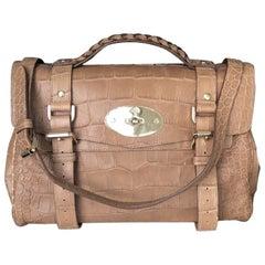 New Mulberry Alexa Medium Brown  Crocodile Print Shoulder Bag