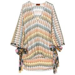 NEW Multicolor Missoni Silver Metallic Crochet Knit Kaftan Tunic Mini Dress
