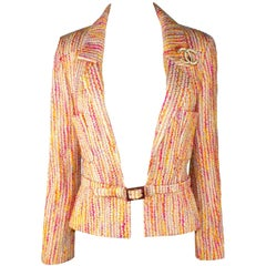 NEW Multicolored Chanel Lesage Fantasy Tweed Jacket Blazer with Belt