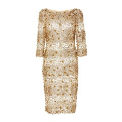 New NAEEM KHAN Beaded Gold Fitted Cocktail Dress US 4