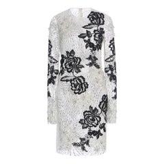 New NAEEM KHAN Contrast Floral Long Sleeve Cocktail Dress US 4