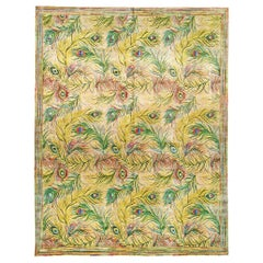 New Nanette Lapore Peacock Yellow, Pink, Green, Beige & Blue Handwoven Silk Rug