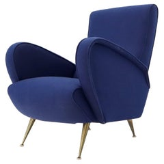 New Navy Blue Upholstery Italian Mid-Century Modern Lounge Chair on Brass Legs