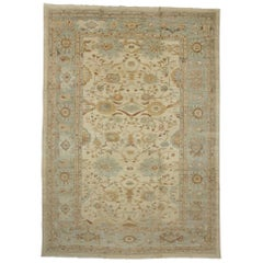 New Neoclassical Nantucket Style Persian Sultanabad Area Rug, Palace Size Rug