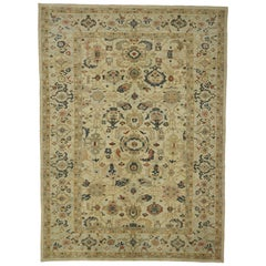 Neoclassical Style Persian Sultanabad Area Rug with Federal Color Palette
