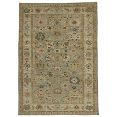 New Contemporary Turkish Oushak Rug with Transitional Beach House Coastal Style