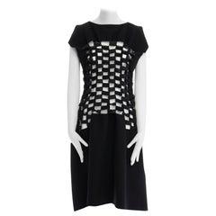 new NOIR KEI NINOMIYA Comme Des Garcons black loop detail open front dress M