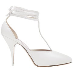 new OLD CELINE 2018 Night Out white wrap around ankle T-strap heels pump EU39