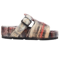 new OLD CELINE Boxy Mohair grey red check print buckle flat sandal slides EU40