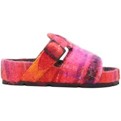 new OLD CELINE Boxy Mohair pink red check print buckle flat sandal slides EU40