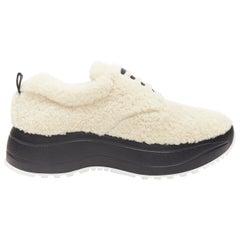 new OLD CELINE Delivery goat shearling black rubber platform sneaker shoes EU39