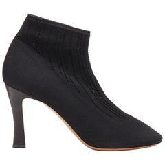 new OLD CELINE Glove Bootie black perforated knit sock square toe boots EU40
