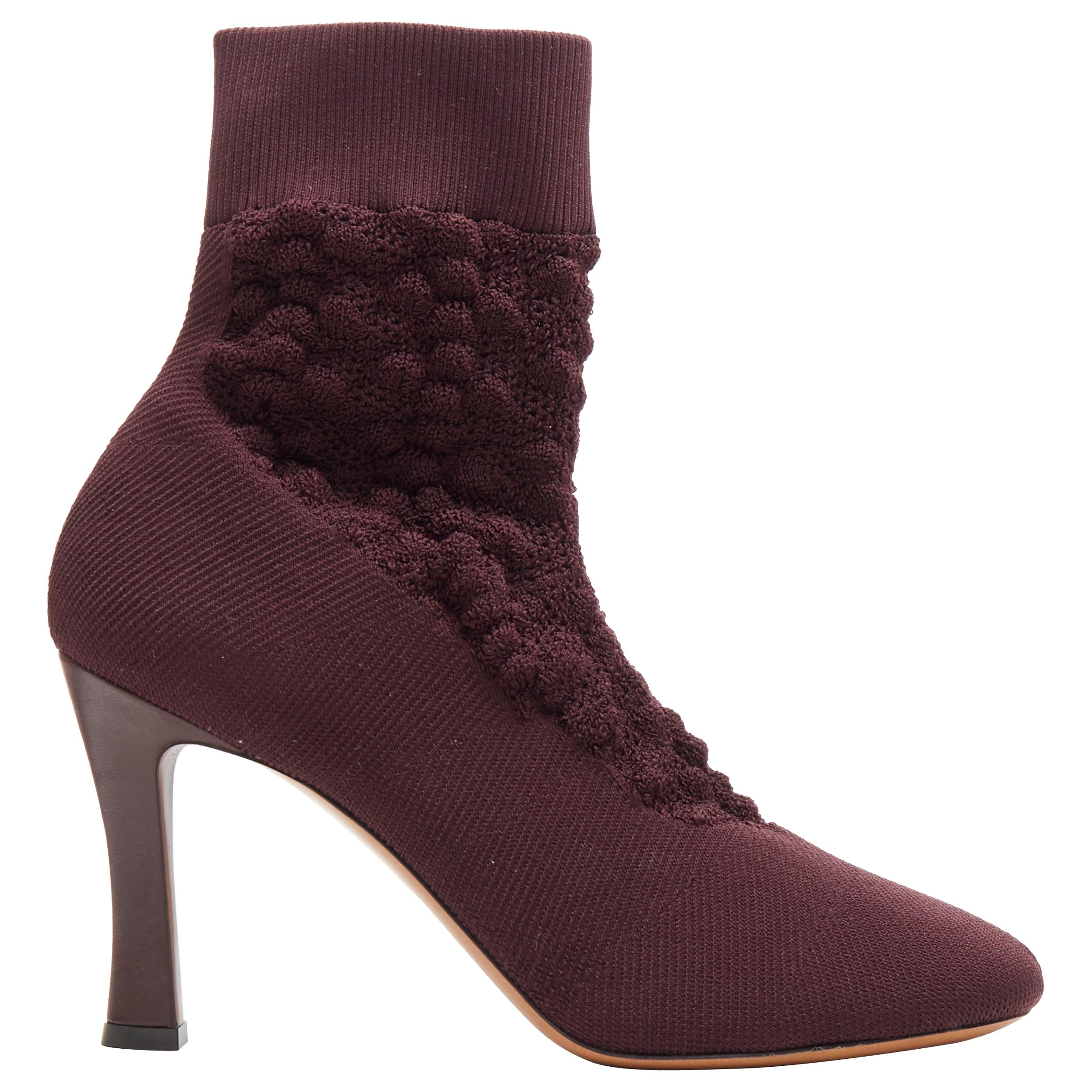 new OLD CELINE Glove Bootie burgundy textured sock knit square toe boots EU40