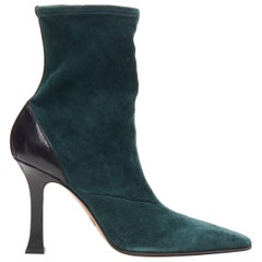 new OLD CELINE Madame Flare forest green stretch suede square toe bootie EU40