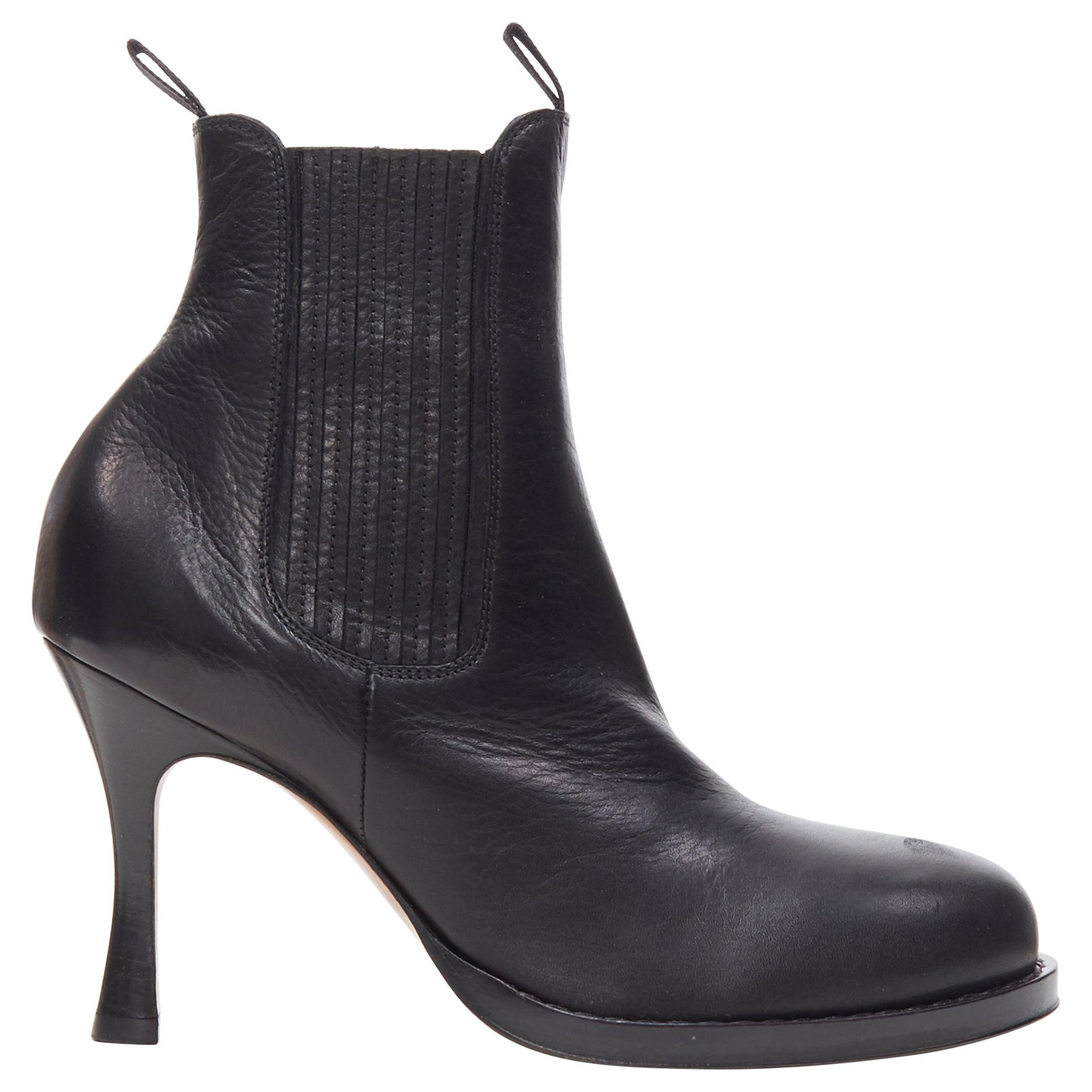 new OLD CELINE PHILO Chelsea Boot 85 black curved toe calfskin heel boots EU37