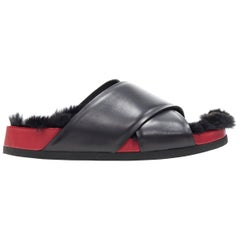new OLD CELINE PHOEBE PHILO red white leather Twist Boxy slides sandals EU37