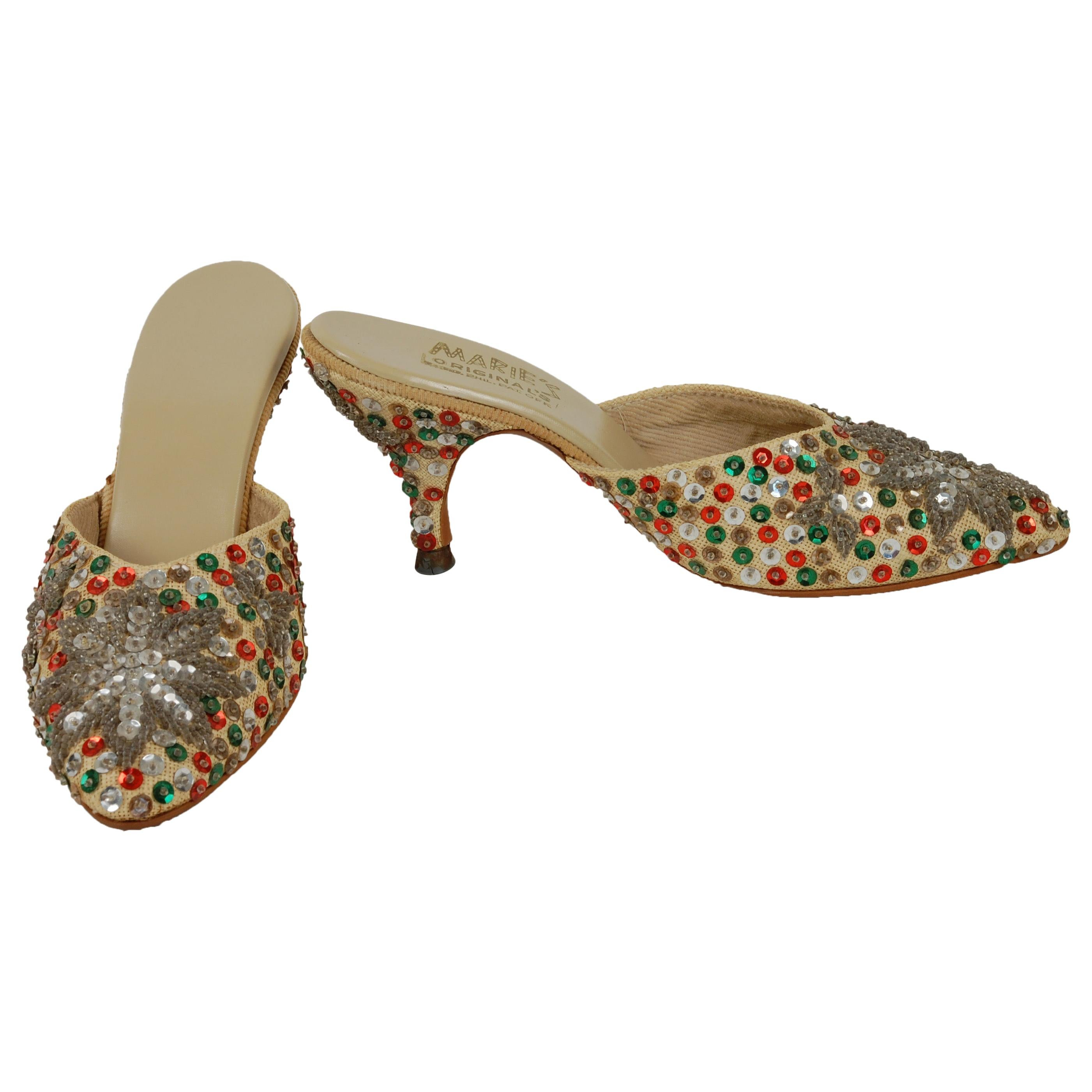 New-Old Silver Snowflake Kitten Mules with Red and Green Sequins – US 5.5, 1940s