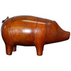 New Old Stock Liberty's London Omersa Style Aged Brown Leather Footstool Pigs